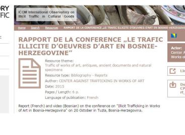 """Izvještaj sa konferencije """"Ilegalna trgovina umjetninama u Bosni i Hercegovini"""" objevljen na ICOM Observatory"""