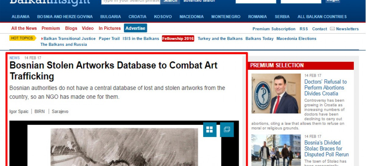 From media: Bosnian Stolen Artworks Database to Combat Art Trafficking