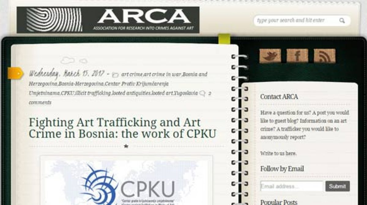 ARCA's blog: Fighting Art Trafficking and Art Crime in Bosnia: the work of CPKU