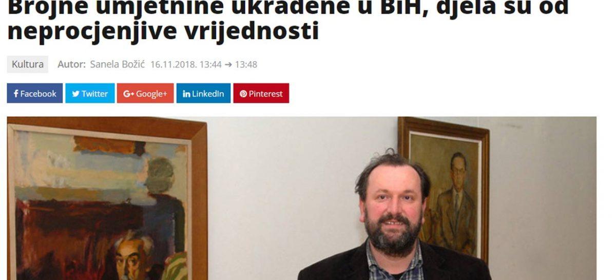 Mediji: Dženan Jusufović, predsjednik CPKU BiH: Brojne umjetnine ukradene u BiH, djela su od neprocjenjive vrijednosti