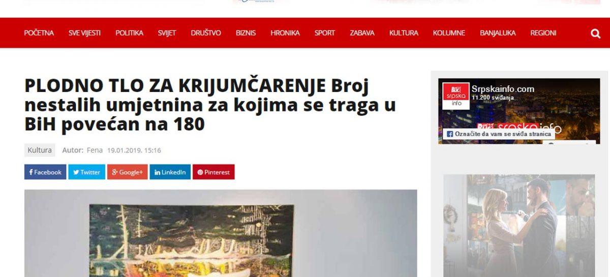 Mediji: PLODNO TLO ZA KRIJUMČARENJE-Broj nestalih umjetnina za kojima se traga u BiH povećan na 180