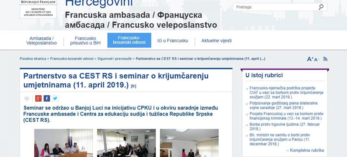 Francuska ambasada u Bosni i Hercegovini: Partnerstvo sa CEST RS i seminar o krijumčarenju umjetninama