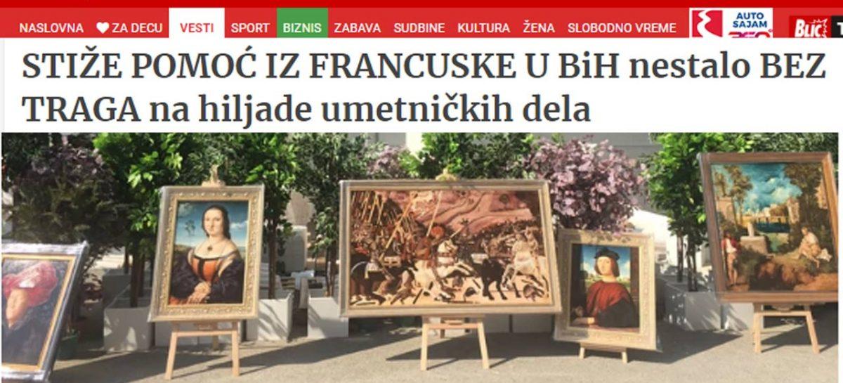 BLIC.RS: Stiže pomoć iz Francuske, u BiH nestalo bez traga na hiljade umjetničkih djela