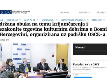 OSCE.org: Održana obuka na temu krijumčarenja i nezakonite trgovine kulturnim dobrima u Bosni i Hercegovini, organizirana uz podršku OSCE-a (BHS/ENG)
