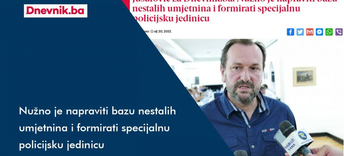 Dnevnik.ba: Nužno je napraviti bazu nestalih umjetnina i formirati specijalnu policijsku jedinicu
