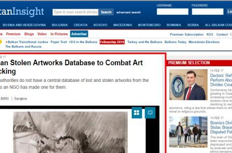 From media: Bosnian Stolen Artworks Database to Combat Art Trafficking